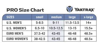 Yaktrax Pro Size Chart Yaktrax Pro Traction Cleats For Snow And Ice