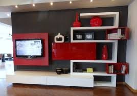 beauteous home living room design ideas with red white black colors wall panels and tv on beauteous living room wall unit