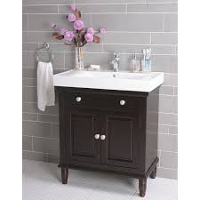 Luxury Bathroom Vanity Cabinets With Dark Brown Laminated Wooden