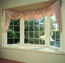 Decorations:Simple Beautiful Bay Window With Cute Pink Window Curtain Bay  Window Decorating Ideas for