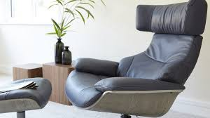blue leather recliner and footstool uk delivery