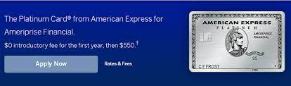 Wed, aug 25, 2021, 4:03pm edt Amex Platinum For Ameriprise Credit Card 30 000 Bonus Points 5x Points On Flights And Hotels Up To 200 Uber Savings Annually Annual Fee Waived First Year