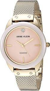 Amazon.com: Anne Klein Women's Diamond Dial Mesh Bracelet Watch with  Ceramic Bezel, AK/3258LPGB: Watches
