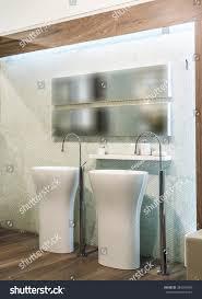 Two Washbasins Big Mirror Bathroom Interior Stock Photo 384991060 ...