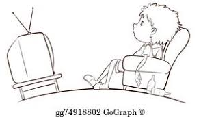 boy watching tv clipart. a plain sketch of boy watching tv tv clipart