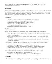 1 Network Cable Installer Resume Templates Try Them Now