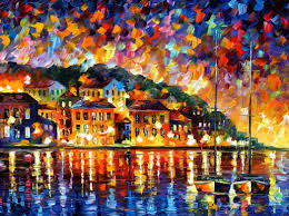 greece palette knife oil painting on canvas by leonid afremov size 72 x48 stretched to uk
