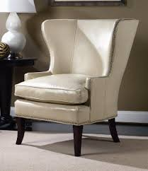 hamlin white leather wing chair