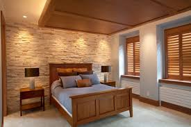 Small Picture Elegant Stone Wall Bedroom Design Ideas