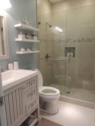 Beach Style Bathroom Decor Beach Theme Bathroom Stone Shower Floating Shelves Shell Decor