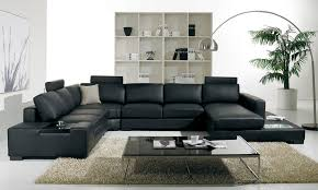 leather sectional living room furniture. T35 Modern Black Sectional Sofa Leather Living Room Furniture N