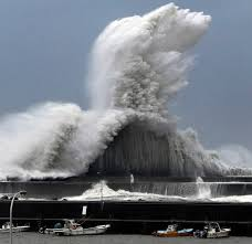 「High waves triggered by Typhoon Jebi are seen at a fishing port in Aki, Kochi Prefecture, western Japan, in this photo taken by Kyodo September 4, 2018. Mandatory credit Kyodo/via REUTERS」の画像検索結果