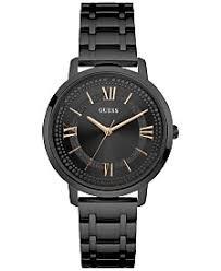 guess watches macy s guess women s black stainless steel bracelet watch 40mm u0933l4