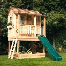 childrens wooden playhouse wooden playhouse tower slide outdoor