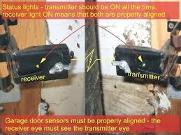 garage door laser sensor garage door sensors alignment and status lights genie garage door beam sensors
