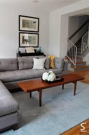 Walnut Furniture Living Room Houston Heights Midcentury Modern Living Room Blue Rug Blue And