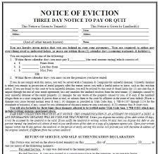 3 Days Pay Or Quit Form Printable Sample 3 Day Eviction Notice Form In 2019