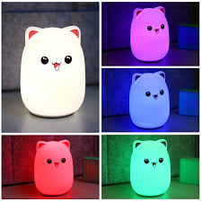 Amazon Child Night Light Cute Cat Led Nursery Night Light For Kids Bedside Lamp For Breastfeeding Safe Soft Silicone For Baby