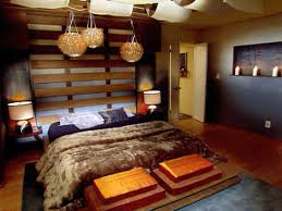 ... Home Decor, Modern And Minimalist Japanese Bedroom Design With Unque  Pendant Lamp And Wooden Headboard ...