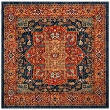 blue orange rug evoke vintage medallion blue orange area rug 3 x 3 square on