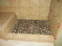 Imposing Brown Ceramic Wall With Seating Shower Also Multi Sized Pebble  Shower Floor In Small Diy Shower Room Designs