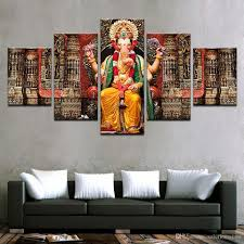 2018 canvas pictures hd prints wall art india religion elephant ganesh paintings for living room home decor prints modular pictures from solutionwinni