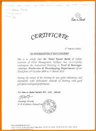 Industrial Training Letter Format Training Certificate Format Activities Therapist Cover Letter Jpg