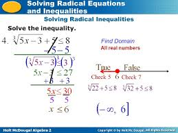 holt mcdougal algebra 2 solving radical equations and inequalities