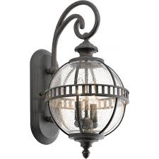 glass globe outdoor wall light with