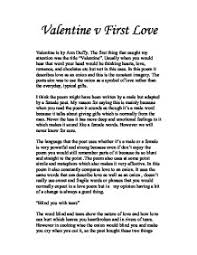valentine v first love valentine is by ann duffy the first thing  page 1 zoom in