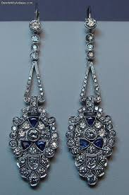 magnificent pair of newly made art deco design 3 carat diamonds sapphires platinum chandelier earrings each earring has more than 1 1 2 carats of