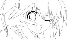 Small Picture Anime Girl Coloring Page Free Download