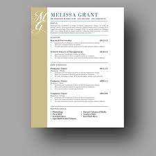 Modern Elegant Font For Resume Resume Design One Page Resume Template Modern And