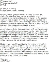 Sample Covering Letter For Secretaries Pas Secretary Cover Letter