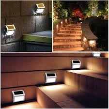 Solar Powered Outdoor Lights For Steps Details About 1 4pcs Solar 3 Led Wall Step Light Outdoor Fence Garden Waterproof Stair Lamp
