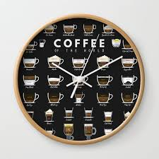 coffee types chart wall clock by