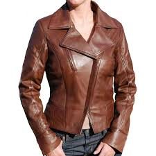 asymmetric style brown leather jacket for womens