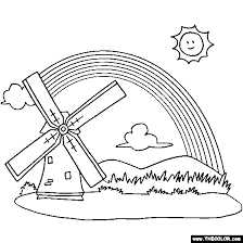 rainbow and windmill coloring page