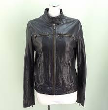 zara trf zara to rough leather jacket black size s