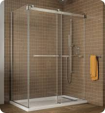 fleurco ngu60 gemini frameless bypass 60 sliding shower doors with return panel