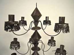 pair of mexican tin candelabra for 2