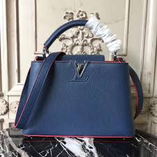 lv louis vuitton capucines bb bag real leather shoulder handbag m94755 blue