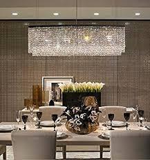 modern crystal pendant lighting. Siljoy Modern Crystal Chandelier Lighting Oval Rectangular Pendant Lights For Dining Room Kitchen Island L 47.3\u0026quot