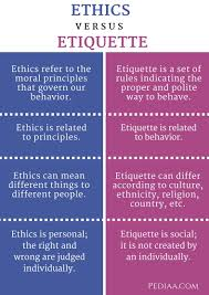 difference between ethics and etiquette