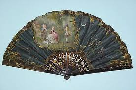french hand fan. rare antique french carved faux tortoiseshell hand painted scene fan french hand fan