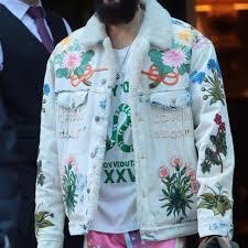 gucci jean jacket. embroidered denim jacket gucci jackets jared leto jean