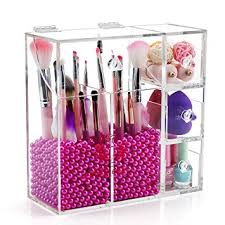 clear acrylic makeup brush holder with lid large makeup brush storage with 2 brush holders