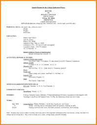 Resume Template For College Application Proyectoportal Com