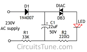circuit panel ac 230v led circuit diagram by diac when mains is connect to the circuit the capacitor c1 starts charging through diode d1 registor r1 when the voltage on the capacitor reached the diac s