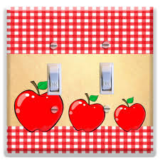Light Switch Plate Cover Red Apples Kitchen Decor Apple Plaid Home Deco